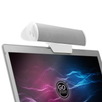 GOgroove USB Laptop Computer Speaker with Clip-On Portable Soundbar Design - White