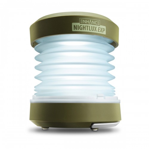 Collapsible LED Lantern and Flashlight with Hand Crank and USB Charging-Green