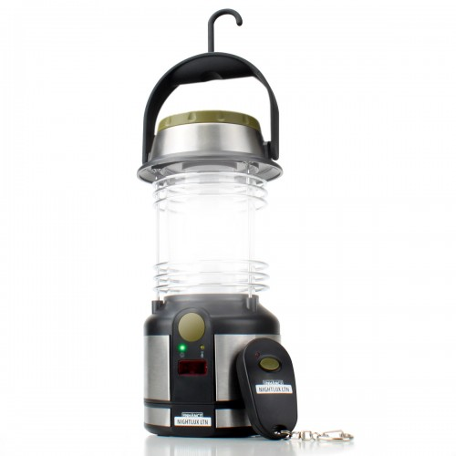 Battery Powered Lantern w/ Remote Control, 12 LED Lights & Fold-out Hanging Clip-black