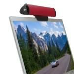 SonaVERSE USB Clip-on Laptop Speaker Soundbar - Red