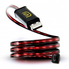 DATASTREAM Micro USB Cable with Red Flowing LED Current