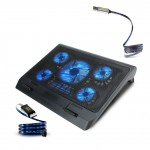 ENHANCE Gaming Laptop 3 Piece Bundle - Cooler Pad with 5 Oversized LED Fans for Max Cooling, Adjustable Viewing Stand, Dual USB Ports - Flowing LED Micro-USB Cable - and Aluminum Micro-USB Cable