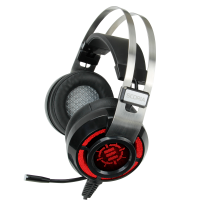 ENHANCE SCORIA Gaming Headset for PC with USB 7.1 Virtual Surround Sound, Adjustable Bass Vibration Settings, 5 Color Adjustable LED Lighting, and Retractable Mic