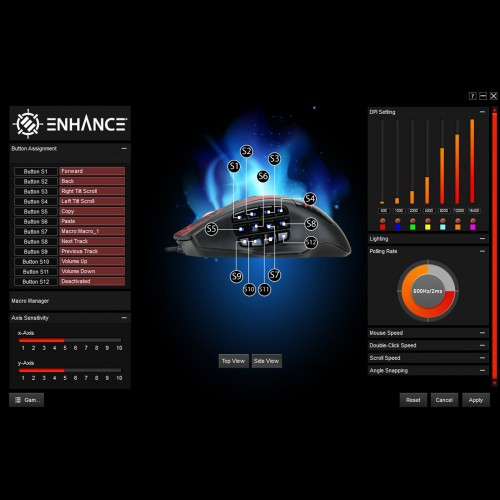 ENHANCE THEOREM Computer PC Gaming Mouse LED - 12 Programmable Buttons for MMO - Black