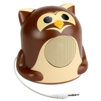 Groove Pal Portable Media Speaker w/ Glowing LED Base & 3.5mm Jack - Owl Jr.