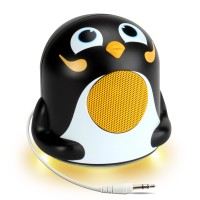 Character Mood Light Speaker w/ Glowing LED Base & 3.5mm Jack - Penguin