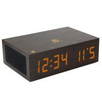 BlueSYNC TYM Real Wood Bluetooth Speaker & Alarm Clock with NFC Pairing - Dark