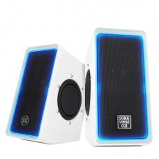 SonaVERSE O2i Glowing LED Computer Speaker System - White