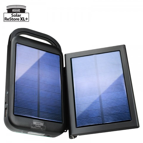 ReVIVE Solar ReStore XL+ 6000mAh Solar Powered Universal USB Battery Charger & Flashlight with Rapid-Charge Adapter Panel