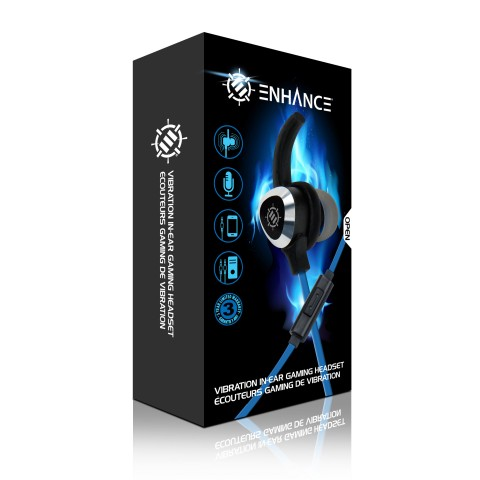 ENHANCE Gaming Earbuds with Vibration & Microphone for PC , PS4 , Xbox & Switch - Black