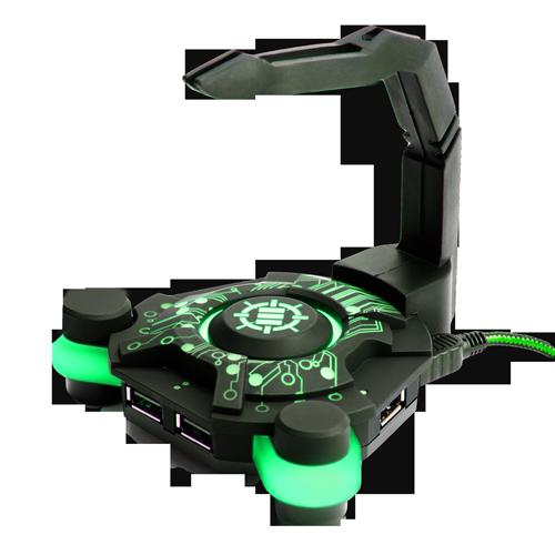 ENHANCE GX-B1 Green Gaming Mouse Bungee and Active 2.0 USB Hub - Black