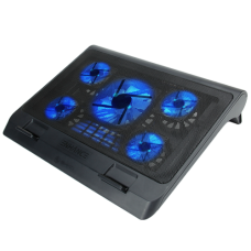 ENHANCE Laptop Cooling Stand with 5 LED Fans & Dual USB Ports for Data Pass through – Blue