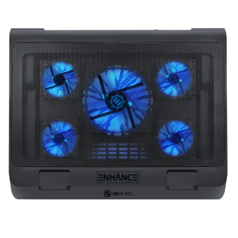 ENHANCE Laptop Cooling Stand with 5 LED Fans & Dual USB Ports for Data Pass through - Blue