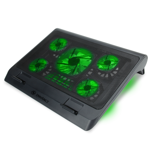 ENHANCE Laptop Cooling Stand with 5 LED Fans & Dual USB Ports for Data Pass through – Green