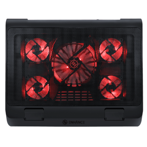 Laptop Cooling Stand with 5 LED Cooling Fans & Dual USB Ports - Red