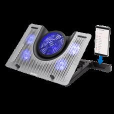 ENHANCE Cryogen 3 Gaming Laptop Cooling Pad - 5 LED Fans , Metal Cooler Surface - Silver
