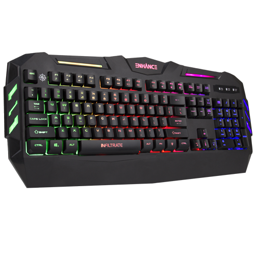 ENHANCE Infiltrate KL1 LED Gaming Keyboard - Multi Color Backlit Keyboard - Black