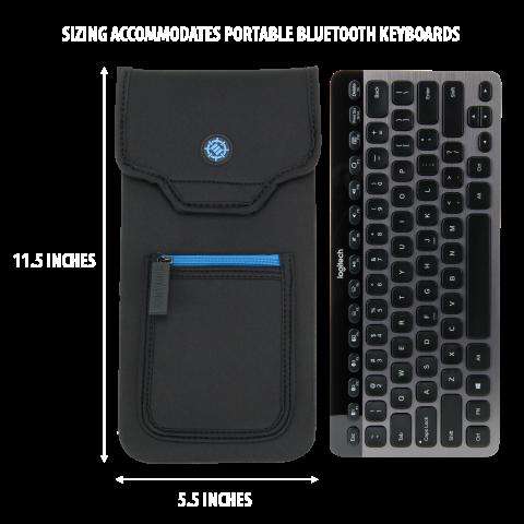 ENHANCE Bluetooth Keyboard Sleeve Case - Compatible with Logitech, Anker, Apple - Black