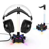 ENHANCE Gaming Headset Stand Headphone Holder with 4 Port USB Hub , LED Lighting & Acrylic Neck