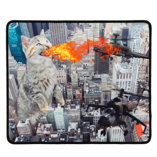 ENHANCE XL Funny Large Cat Gaming Mouse Pad with Giant Fire Breathing Cat