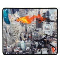 Enhance XL Gaming Mouse Pad with Anti-Fray Stitching and Non-Slip Rubber Grip - Fire Cat