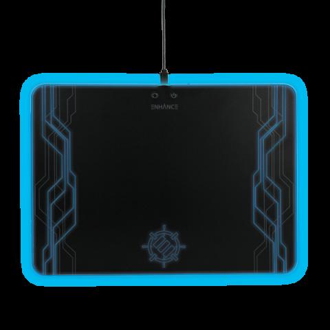 ENHANCE Large Hard Surface LED Gaming Mouse Pad - 7 RGB Light Up Modes - Black