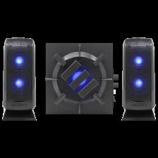Computer Speaker Sound System - 2.1 Subwoofer with 80W Peak, LED Satellites - Black
