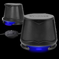Computer Speakers USB Powered Blue LED Glow Lights 10W Peak Sound