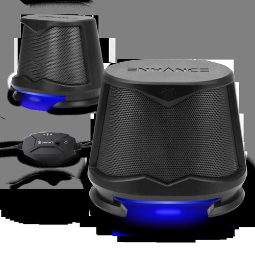 Computer Speakers USB Powered Blue LED Glow Lights 10W Peak Sound - Blue