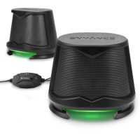 ENHANCE SB2 High Excursion Computer Speakers with LED Lights - Green