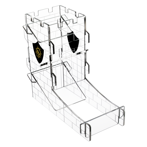 ENHANCE Dice Tower Dice Tray for Tabletop RPG Games with Castle Design - Clear