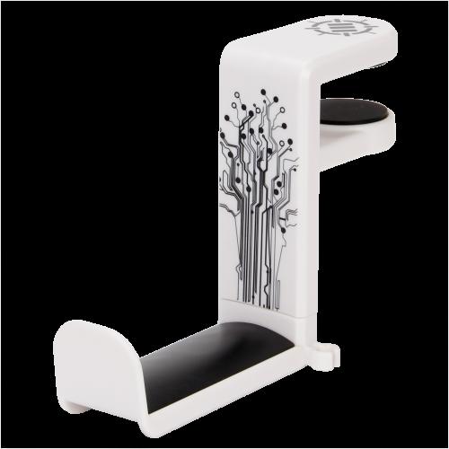Gaming Headset Holder Hanger Mount by ENHANCE - Adjustable Under Desk Design - White