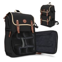 GOgroove Professional DSLR Camera Backpack Case for Photography and Laptop Travel Use - Black
