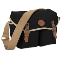 GOgroove DSLR Messenger Style Camera Bag with Seven Accessory Pockets and Adjustable Strap - Black