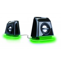 GOgroove BassPULSE 2MX USB Computer Speakers with Green LED Lights , Dual Drivers & Passive Subwoofer