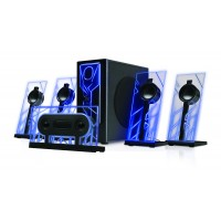 BassPULSE 5.1 Surround Sound Computer Speakers with 80 Watts and Blue LED Glow Lights