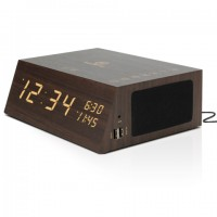 GOgroove BlueSYNC TYM+ Bluetooth Alarm Clock Radio Speaker - Wood , FM Radio , Dual Alarms , USB Charging Ports