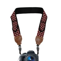 TrueSHOT Camera Neck Strap with Accessory Storage Pockets & Underarm Support - Polka Dot Maroon