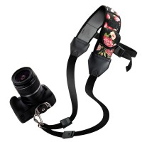 USA GEAR TrueSHOT Rapid Fire Camera Neck Strap Sling with Adjustable Neoprene and Gliding Buckle - Flower