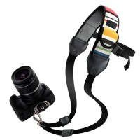 USA GEAR TrueSHOT Rapid Fire Camera Neck Strap Sling with Adjustable Neoprene and Gliding Buckle - Striped