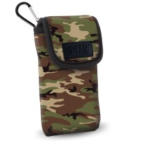 USA GEAR FlexARMOR D50  Portable Pocket Radio Case with Carabiner Carrying Clip, Belt Loop - Camo Green