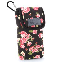 USA GEAR Portable Pocket Radio Case with Carabiner Carrying Clip, Belt Loop - Floral