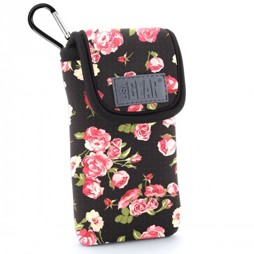 USA GEAR FlexARMOR D50 Portable Pocket Radio Case with Carabiner Carrying Clip, Belt Loop - Floral