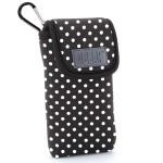 USA GEAR Portable Pocket Radio Case with Carabiner Carrying Clip, Belt Loop - Polka Dot