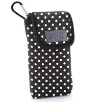 USA GEAR Portable Pocket Radio Case with Carabiner Carrying Clip, Belt Loop - Polka Dot