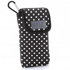 USA GEAR FlexARMOR D50 Portable Pocket Radio Case with Carabiner Carrying Clip, Belt Loop - Polka Dot