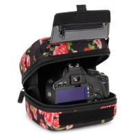 Quick Access DSLR Hard Shell Camera Case w/Molded EVA Protection and Accessory Storage - by USA Gear - Floral