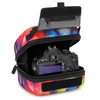 Quick Access DSLR Hard Shell Camera Case w/Molded EVA Protection and Accessory Storage - by USA Gear - Geometric