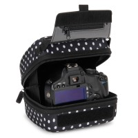 Quick Access DSLR Hard Shell Camera Case w/Molded EVA Protection and Accessory Storage - by USA Gear - Polka Dot
