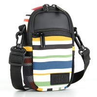 USA Gear Compact Camera Bag with Waterproof Rain Cover, Belt Loop & Shoulder Strap Sling - Striped